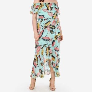 Express floral leaf maxi dress